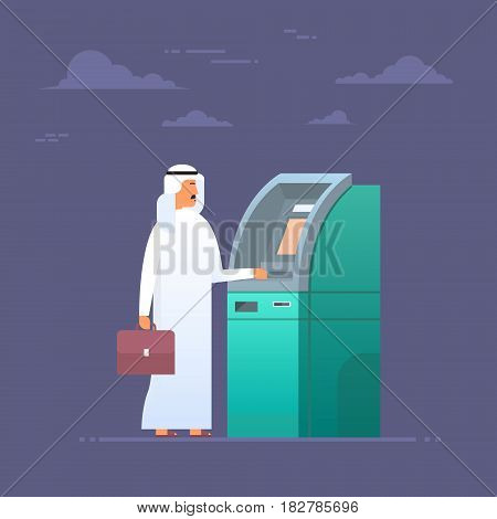 Arab Man Using Atm Machine Taking Money From Credit Card, Islam Businessman Wearing Traditional Clothes Flat Vector Illustration