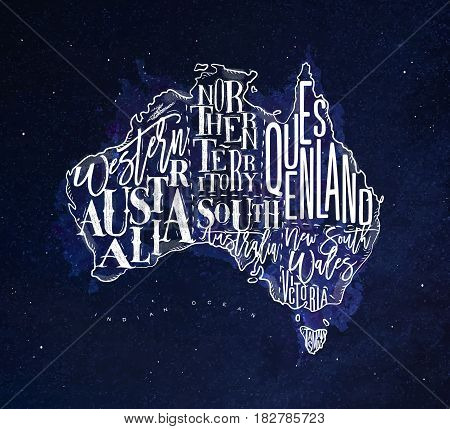 Vintage australia map with regions inscription western northern south australia queensland victoria tasmania drawing with chalk on blue background