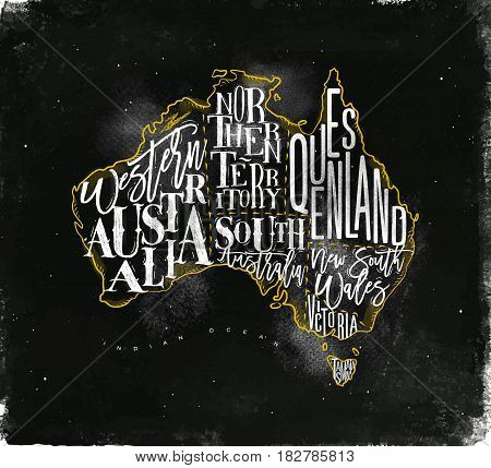 Vintage australia map with regions inscription western northern south australia queensland victoria tasmania drawing with chalk and yellow on chalkboard background