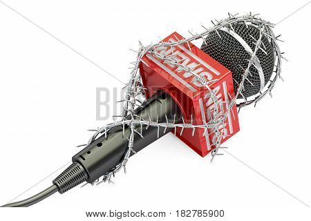 Freedom of press prohibition concept. Microphone with barbed wire 3D rendering isolated on white background