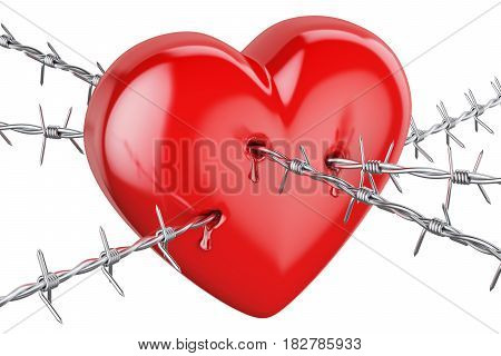 Heart pierced with barbed wire 3D rendering isolated on white background