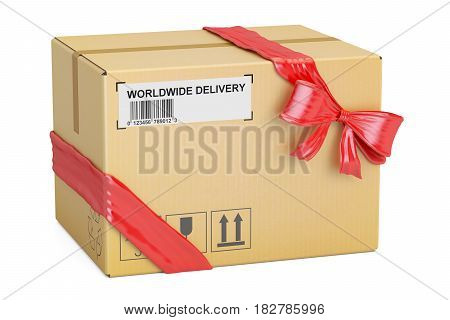 Parcel with red bow and ribbon gift delivery concept. 3D rendering isolated on white background