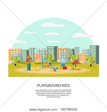 Playground kids concept with swing slide rocket carousel colorful boxes and sandbox on cityscape vector illustration
