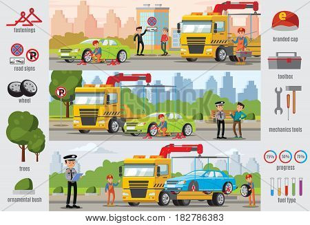 Transport evacuation infographic template with drivers policeman workers tow truck cars equipment and tools vector illustration