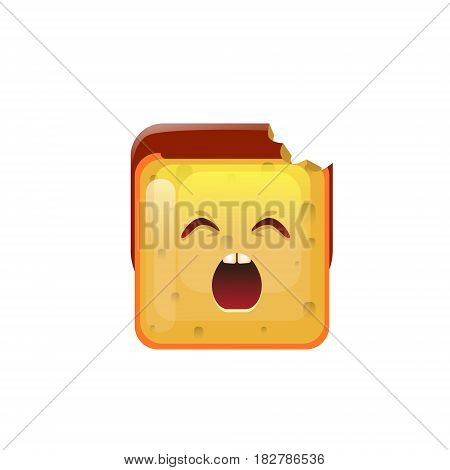Smiling Emoticon Face Yawn Icon Flat Vector Illustration