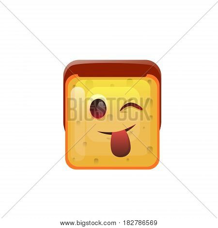 Smiling Emoticon Face Show Tongue Positive Icon Flat Vector Illustration