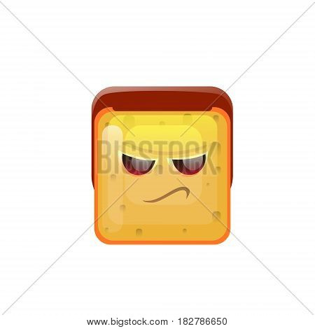 Smiling Emoticon Face Angry Emotion Icon Flat Vector Illustration