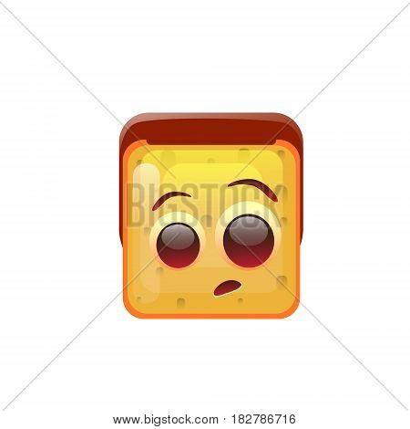 Smiling Emoticon Face Surprised Emotion Icon Flat Vector Illustration