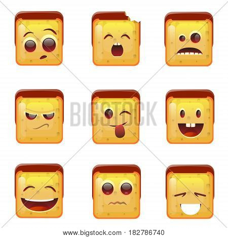 Smiling Emoticon Face Positive And Negative Icons Flat Vector Illustration