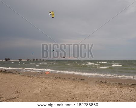 Kiteboarding at Chioggia beach, Italy.  Sea and wind.