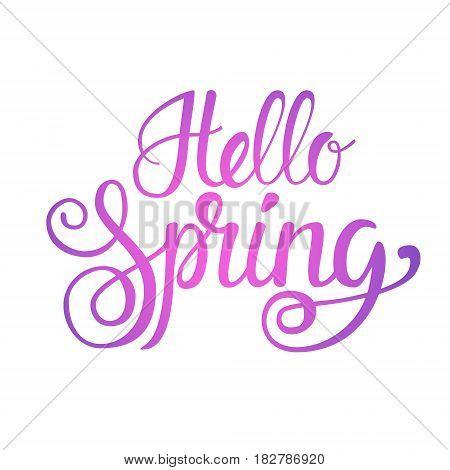 Hello Spring Season Text Banner Over White Background Flat Vector Illustration