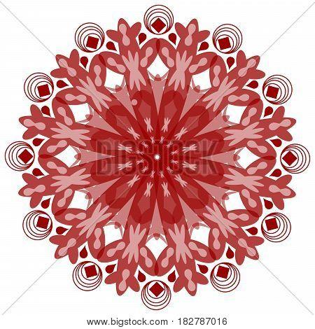 Single symmetric geometric circle ornament mandala in vintage style in red design