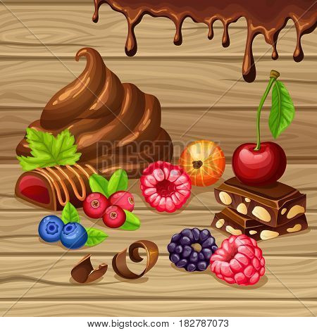 Cartoon sweet products set with chocolate pieces candies drops whipped cream berries on wooden background vector illustration