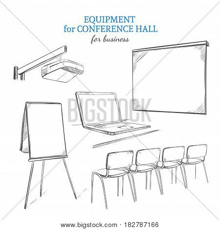Hand drawn business presentation equipment set with projector flipchart whiteboard laptop and chairs isolated vector illustration