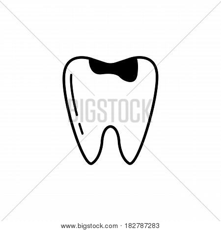 Caries tooth line icon, Dental and medicine, sick tooth vector graphics, a linear pattern on a white background, eps 10.