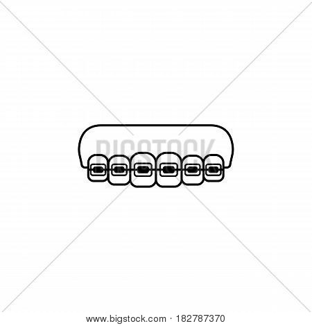 Orthodontic braces line icon, Dental and medicine, tooth braces vector graphics, a linear pattern on a white background, eps 10.