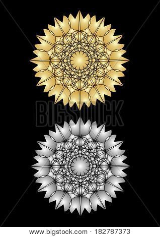 Star patterns in gold and silver plastic design on the black background