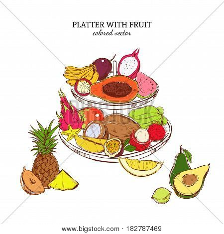 Hand drawn exotic fruits template with platter of colored fresh tropical products isolated vector illustration