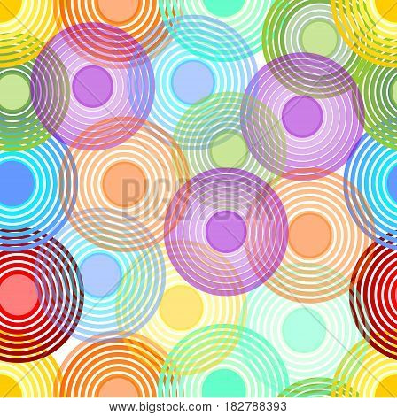 Abstract seamless background with overlapping concentric circles in pastel rainbow colors