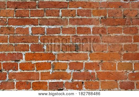 Red brick wall background. Vintage very old natural brickwork texture