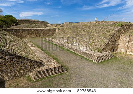 The ballcourt in the Monte Alban Zapotec archaeological site in Oaxaca Mexico