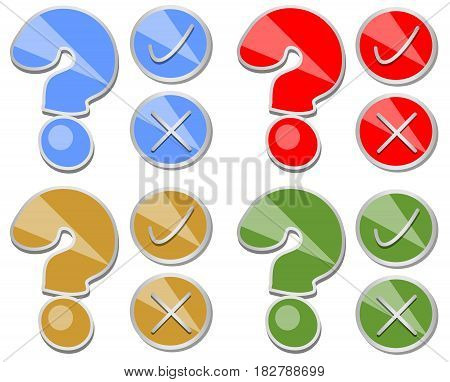 Question mark yes no set of quiz button in four color variants