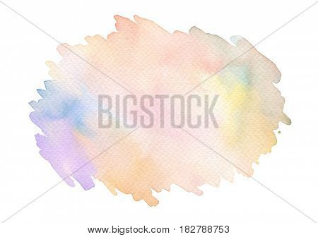 Abstract acrylic and watercolor brush strokes painted background. Texture paper. Isolated.