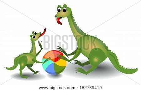 Cheerful lizard mum and her child playing with ball
