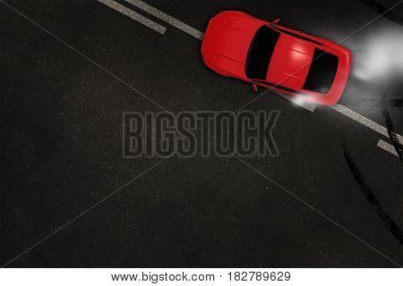 Car Tire Burnout 3D Illustration with Copy Space. Fast Car Drifting on the Asphalt Backdrop. Automotive Concept.