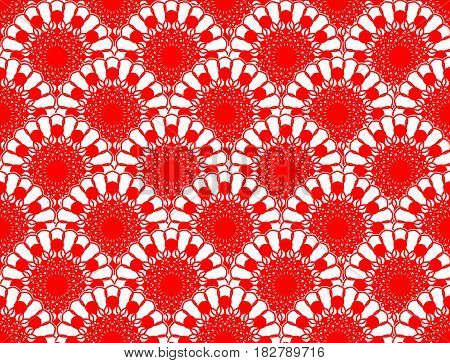 Red lace fine seamless with overlapping circle patterns