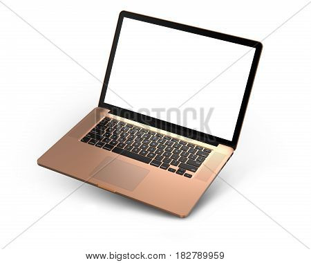 Laptop with blank screen isolated on white background, gold aluminium body.Whole in focus. High detailed. 3d illustration.