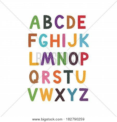 Vector cartoon alphabet white background. Cute abc design for book cover, poster, card, print on baby's clothes, pillow etc. alphabet for children, colorful letters in the hole