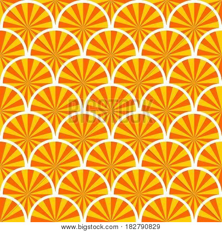 Abstract seamless background with overlapping orange slices