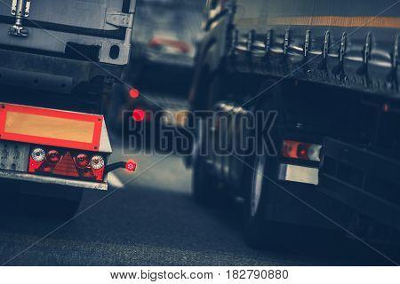 Trucks Heavy Traffic on the Country Border Highway. Border Custom Traffic.