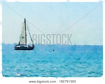 A digital watercolor painting of a sailing boat at sea with its sails up and with space for text.