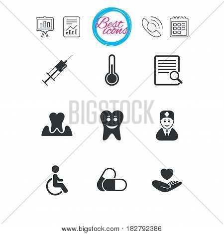 Presentation, report and calendar signs. Medicine, medical health and diagnosis icons. Capsules, syringe and doctor signs. Tooth parodontosis, disabled person symbols. Classic simple flat web icons