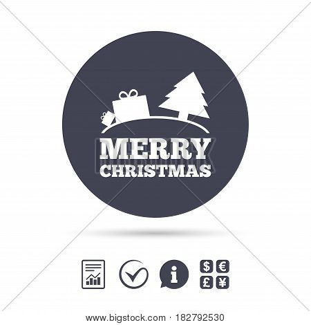 Merry christmas gift sign icon. Present and tree symbol. Report document, information and check tick icons. Currency exchange. Vector
