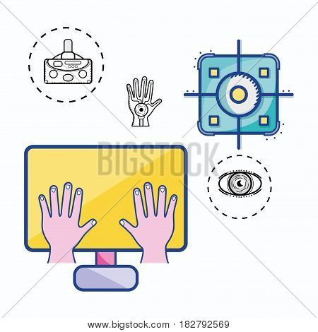 3d virtual reality game simulator, vector illustration