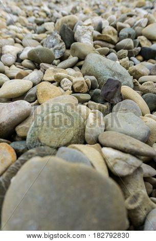 Stones. Close-up of  a Stony Ground. Geology. Grey Stones