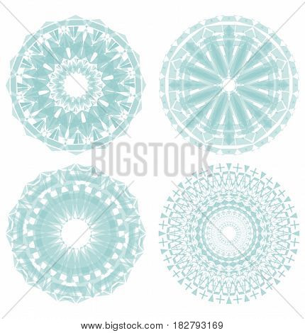 set of light green circle geometric symmetric lace rosette patterns, isolated design elements