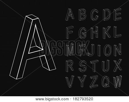Isometric letters. Set of vector letters constructed on the basis of the isometric view. Three-dimensional alphabet. Low poly 3d characters. Vector illustration.
