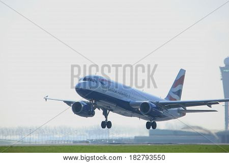 Amsterdam the Netherlands - April 2nd 2017: G-EUUP British Airways Airbus A320 takeoff from Polderbaan runway Amsterdam Airport Schiphol