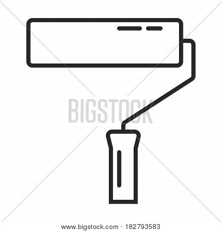 Paint roller vector icon in simple outline style. This icon are perfect for your websites and applications.