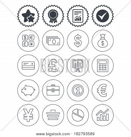 Report, check tick and award signs. Money and business icons. Cash and cashless money. Usd, eur, gbp and jpy currency exchange. Presentation, calculator and shopping cart symbols. Vector