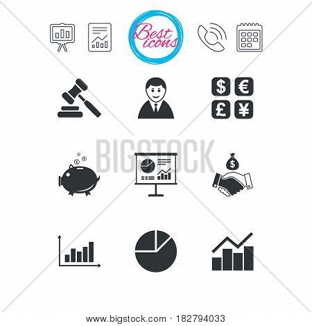 Presentation, report and calendar signs. Money, cash and finance icons. Handshake, piggy bank and currency exchange signs. Chart, auction and businessman symbols. Classic simple flat web icons. Vector