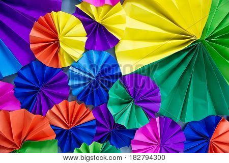 Colorful circle of fans paper pattern background
