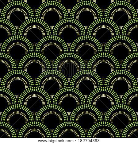 Seamless abstract dark background with green overlapping circle patterns