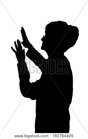 Side Profile Portrait Silhouette Of Elderly Lady Protecting Against Attack
