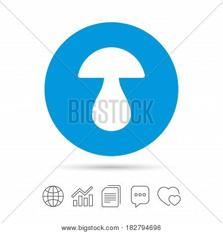 Mushroom sign icon. Boletus mushroom symbol. Copy files, chat speech bubble and chart web icons. Vector