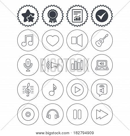 Report, check tick and award signs. Music icons. Musical note, acoustic guitar and microphone. Notebook, dynamic and headphones symbols. Best quality star symbol. Flat buttons. Vector